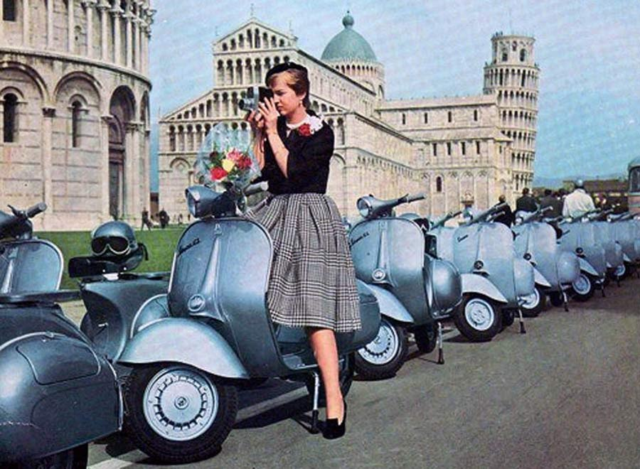 Row of Blue Vespas